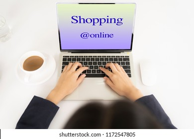 top view woman shopping online with tablet.