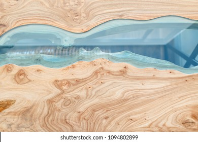 Top view of wood for background. Texture of a wooden table with epoxy resin.