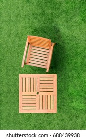 top view wood table and chair table on grass