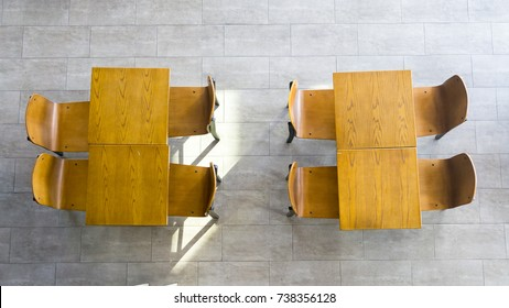 top view of wood tables and chairs