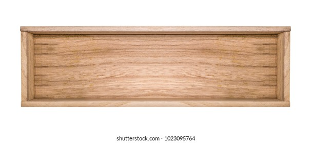 Top view of wooden box isolated on white background. Blank template of opened wooden box. ( Clipping path )