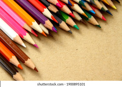 Top view of wooden colored pencil