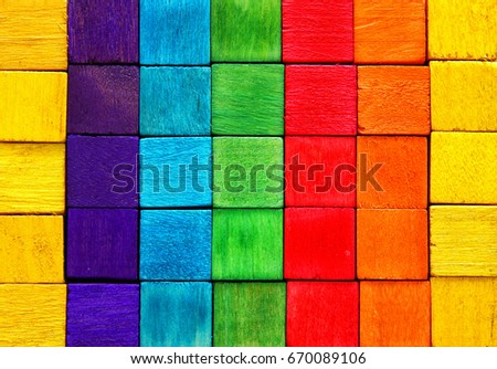 Wandplank Retro Cubes.Top View Wooden Colorful Cubes Stock Photo Edit Now 670089106