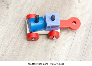 Top view of a wooden colorful train