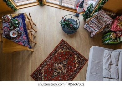 top view wooden cottage cozy interior. Decorated for Christmas living room.