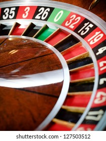 Top view of wooden roulette at the casino