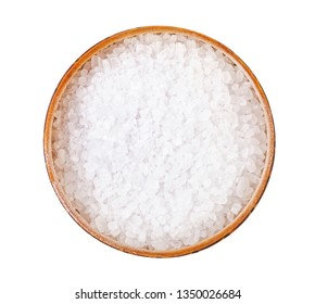 top view of wooden salt cellar with coarse grained Sea Salt isolated on white background