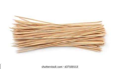 Top view of wooden skewers isolated on white
