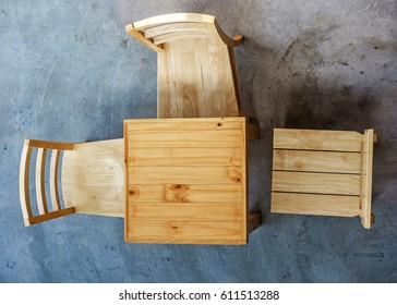 Top view of wooden tables and chairs in coffee shop