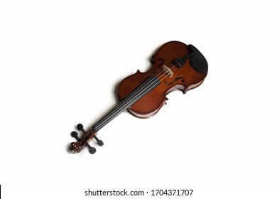Top view of wooden violin on white background, isolated.
