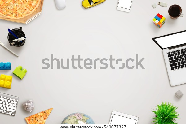 Top View Work Desk Free Space Stock Photo Edit Now 569077327