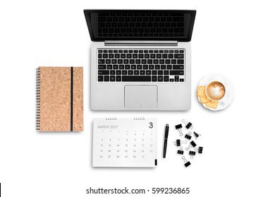 Top view work space computer notebook coffee latte calendar and paper clip flat layout white background