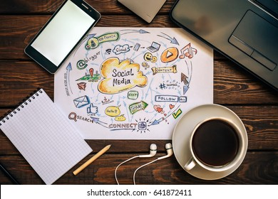 Top view of working place - Social media and Social Network Marketing concept, funny picture of modern internet communication trends. Cup of coffee, laptop, phone, notepad, headphones, wooden table