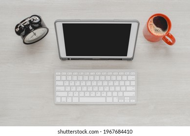 Top view working space concept work from home.tif