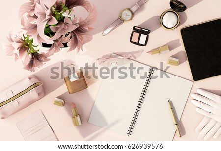 top view working space with laptop,smartphone,flower,cup of coffee and cosmatics  for Beauty and fashion designer,pink background