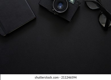 Top view of workplace Photographer with copy space