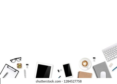 top view workspace business white desk with laptop computer, office supplies and coffee cup using for background