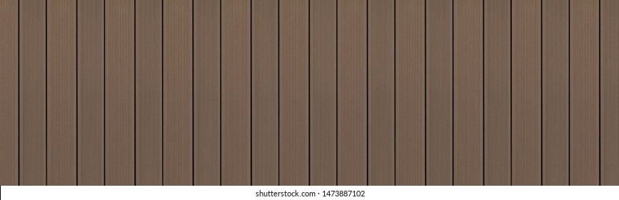Top view of WPC in dark oak color. WPC: Wood-Plastic Composites are wood fiber and thermoplastic such as PE, PP, PVC, or PLA. A WPC decking are stylish and enrich the outdoor living