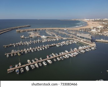 Top view of Yachts and boats dock at Ashdod marina