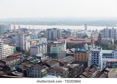 Top view Yangon buildings, Myanmar