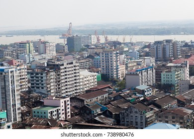 Top view Yangon buildings, Myanmar.