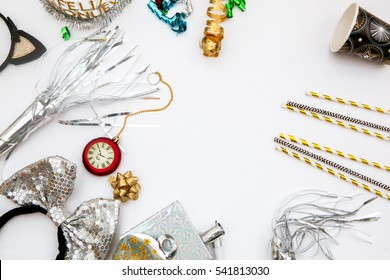top view.New years party concept .Cosmetis and confetti.Copy space
