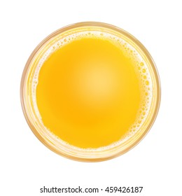 Top view of yellow soft drink and white foam in simple glass. Isolated on white background. Round copy space in center