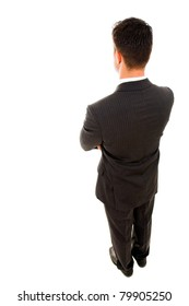Top view of a yong business man from the back, isolated on white