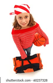 Top view of a young basketball player girl with ball and bag, wearing striped kerchief. Isolated on white