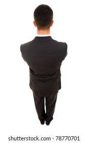 Top view of a young business man from the back, isolated on white
