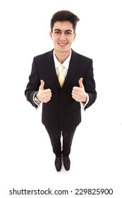Top view of young businessman with two thumbs up on white background