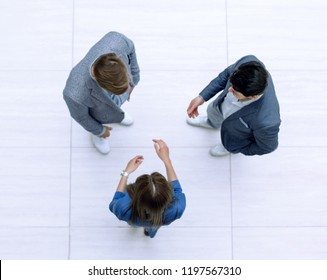 top view.business team discussing important issues
