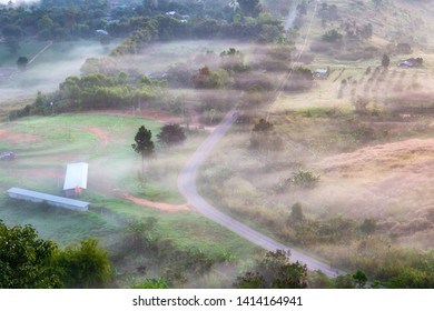 Top views landscape with the mist at Khao Ta Kean Ngo, Khao Kho District, Phetchabun, Thailand