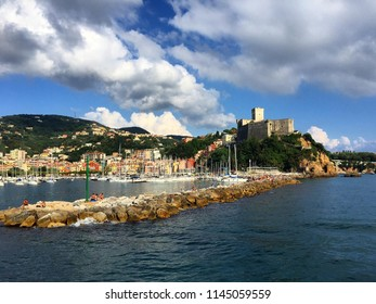 Top views of town Lerici on Ligurian coast of Italy, Europe.  Castle of Lerici seen from the boat . Beautiful colorful seascape .