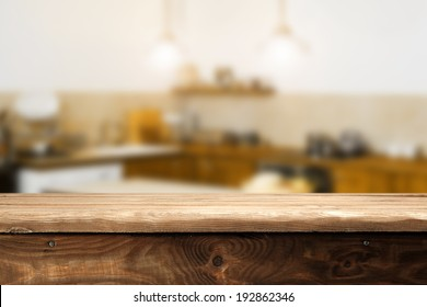top of wood and retro kitchen space