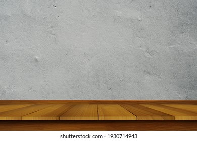 Top Wood shelves or table on Cement wall background.For put product and some thing