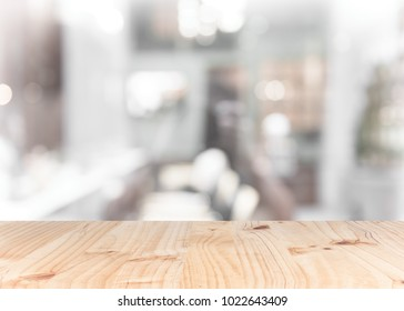 top wood table with Blur Background for product display montage.