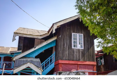 Top of a wooden house at downtown in Pyin Oo Lwin, Myanmar. The small town of Pyin Oo Lwin is a reminder of the British colonial times in Myanmar.