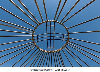 Top of the wooden sticks of a nomadic tent under construction, known as yurt, in Kazakhstan.