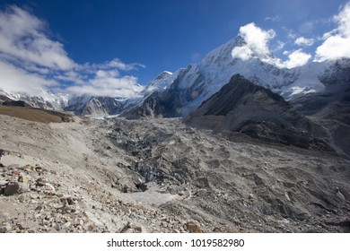 Top of the world view behind Khumbu Glacier in Himalayas, Nepal