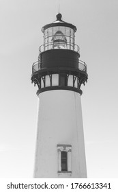 The top of Yaquina Head Lighthouse at Pacific coast, Oregon, USA. Black and White photo