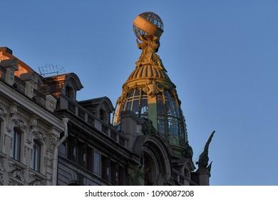 A top of the Zinger Building, headquarters of largest Russian social net VKontakte and office of Telegram Messenger. Saint-Petersburg, 09.05.2018