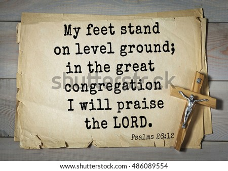 96865689bd11b TOP-1000. Bible verses from Psalms. My feet stand on level ground  in the  great congregation I will praise the LORD. - Image