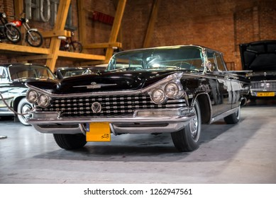 Topacz, Poland - October 13, 2018: Black retro car in museum, 1959 Buick Electra hardtop sedan