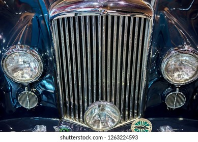 Topacz, Poland - October 13, 2018: Front car grill Bentley. Front side view of a silver 1952 Bentley R Type Saloon classic car