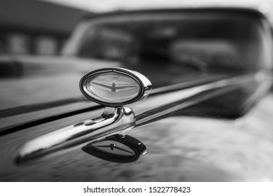 TOPACZ, POLAND - SEPTEMBER 29, 2019 : Ford Thunderbird Sign Close Up Logo, Dark Tone. Old limousine at the Automotive Museum.