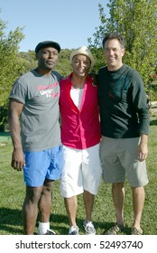 TOPANGA CANYON, CA - MAY 1: Jimmy Jean-Louis, J.R. Martinez and event organizer David Glickman at the 1st annual Kicks & Sticks for Hope charity soccer game held May 1, 2010 in Topanga Canyon, CA.