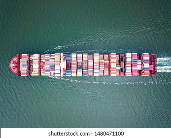 Topdown view of the Maersk MC-Kinney Moller container vessel