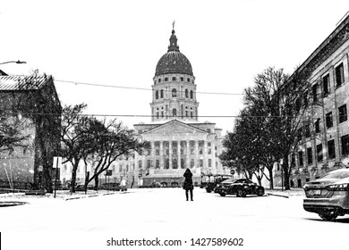 topeka capital building snow black and white