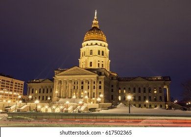 Topeka, Kansas - entrance to State Capitol Building. Topeka, Kansas, USA.